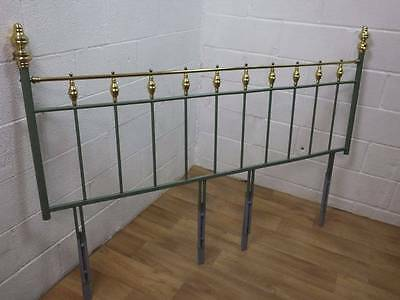 Brass & Metal Ware Double Bed Headboard Painted Part Green.