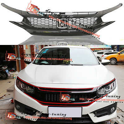 JDM Type R Glossy Black Front Bumper Grille W/Emblem for Honda Civic 2016 2017