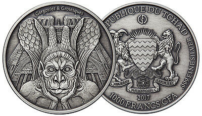 SPITTER GARGOYLES & GROTESQUES 1000 Fr Silver Coin 2017 ANTIQUE FINISH 1 oz Chad