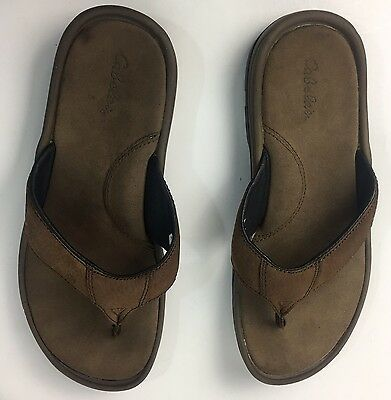9c7934bb387b CABELAS MENS TAHOE Thong Slip On Sandal Leather Brown Solid Sz 9 ...