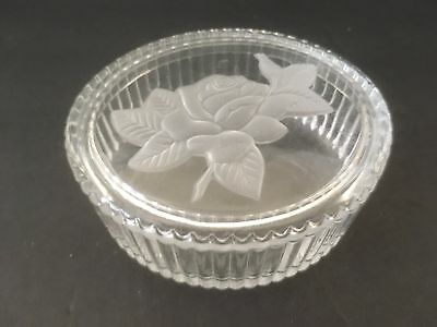 "Vintage Teleflora Oval Etched Glass Decorative 4.5"" Candy Nut Bowl Butter Dish"