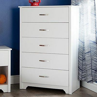 South Shore Furniture Fusion 5-Drawer Chest, Pure White