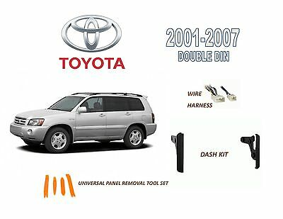 2001-2007 TOYOTA HIGHLANDER DASH INSTALL KIT for CAR STEREO, with WIRE HARNESS
