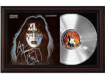Ace Frehley - Kiss - Platinum LP Record With Reprinted Autograph In Wood Frame