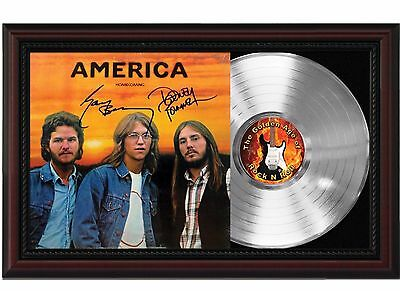 America - Platinum LP Record With Reprinted Autographs In Cherry Wood Frame