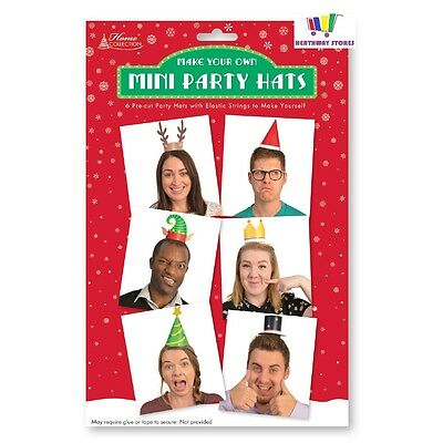 6 X Make Your Own Mini Party Hats Christmas Crafts Fun Xmas Novelty Design New