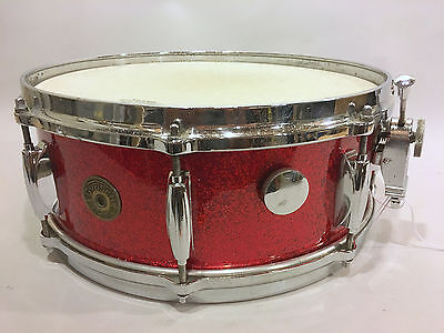 GRETSCH 60S VTG ROUND BADGE 4157 SNARE DRUM 5X14 MICROSENSITIVE RED SPARKLE 6Ply