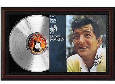 Dean Martin - Platinum LP Record With Reprinted Autograph In Cherry Wood Frame