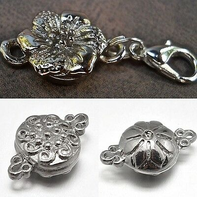 Very Strong Magnetic Jewelry Clasps Converter Flower Silver Plated Fast US Ship