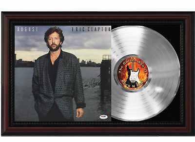 Eric Clapton - Platinum LP Record With Reprinted Autograph In Cherry Wood Frame