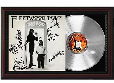 Fleetwood Mac - Platinum LP Record With Reprint Autographs In Cherry Wood Frame