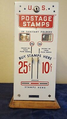 Vintage Us Postage Stamp Vending Machine 25 & 10 Cent Dispenser  Magnetic Stamps
