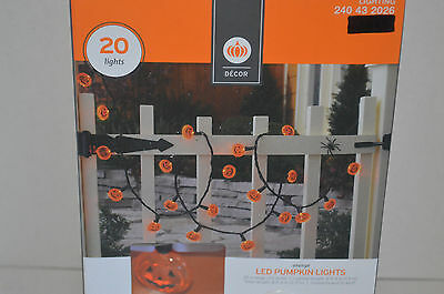 Decor 20 Orange LED Halloween Pumpkin Bulb String Lights~8' Indoor/Outdoor~Party