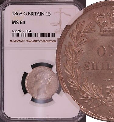 1868 Shilling English Silver Coin From Victoria (1837-1901)