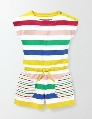 Mini Boden Girls Colorful Jersey Romper size 5-6 rainbow striped NEW