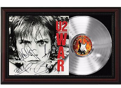 U2 - WAR - Platinum LP Record With Reprinted Autographs In Cherry Wood Frame
