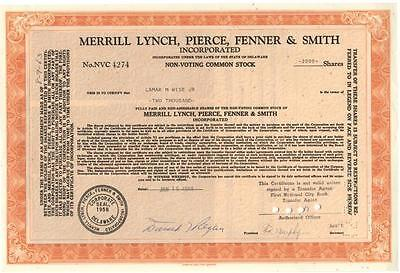 A Merrill Lynch, Pierce, Fenner & Smith Stock Signed By Donald Regan Lot 294