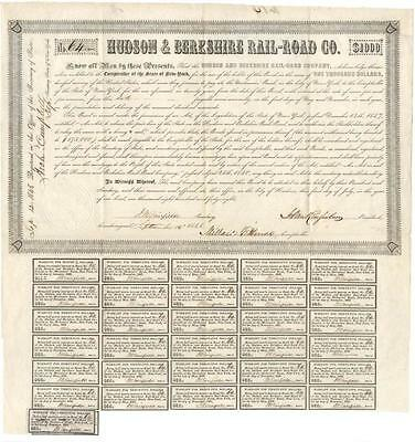 Hudson & Berkshire Rail-Road Company Bond Signed By Millard Fillmore Lot 265