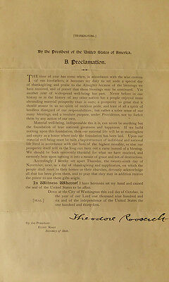 THEODORE ROOSEVELT - Thanksgiving Proclamation Signed Lot 83