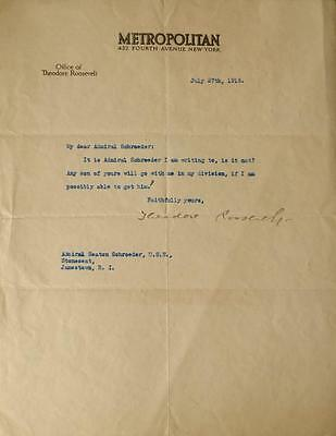 THEODORE ROOSEVELT - Typed Ltr Signed Lot 85