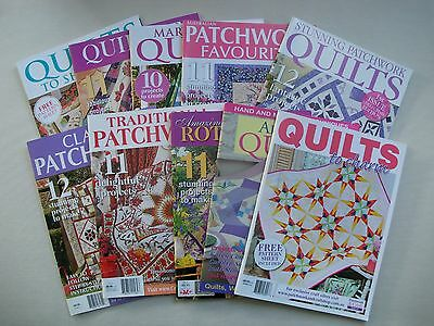10 x Quilting Magazines - Patchwork Applique - Pattern Sheets Attached