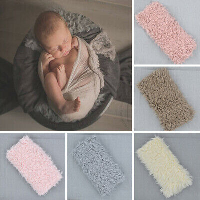 Newborn Infant Baby Faux Fur Blanket Basket Rug Backdrop Photo Photography Prop