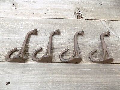 4 Cast Iron Tack Saddle Hook Style Coat Hooks Hat Rack Hall Tree Railroad Towel