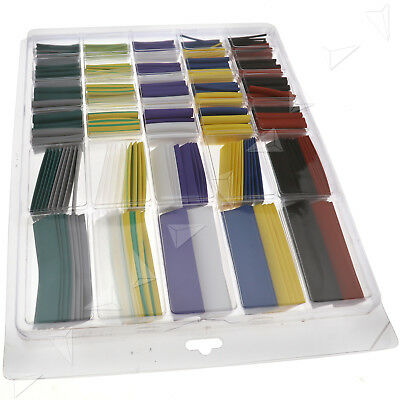 500 x Assortment 2:1 Heat Shrink Tubing Tube Cable Sleeving Wrap Wire Kit Box