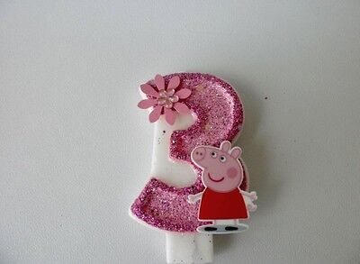 Peppa Pig Birthday Candle. cake topper, cupcake topper