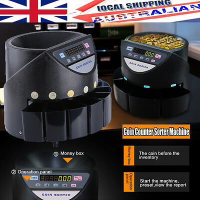 LED Display Australian Automatic Cash Coin Money Counter Sorter 300-500+ Coins