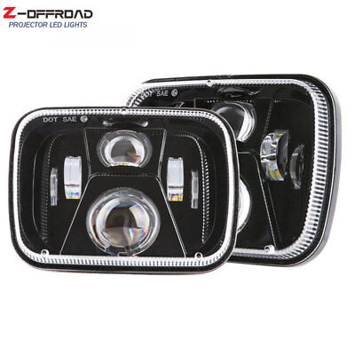 2pcs 5x7 7x6 Square Hi/Lo Beam Replacement LED Headlight for Jeep Cherokee Truck