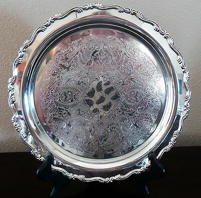 """Vintage Oneida Silverplated 12"""" Serving Tray/Platter Etched Scrolled Edge"""