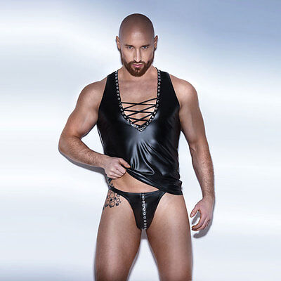 NOIR Handmade - UNCHAINED - H044 - POWERWETLOOK Vest with Binding and Eyelet Tap