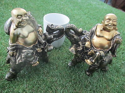 Buddhas, Laughing, sitting on Elephants - 1 Pair - lb013