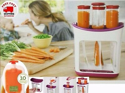 Baby Fresh Food Filling Station Squeeze Press 10 Safe Pouches Feeding Maker