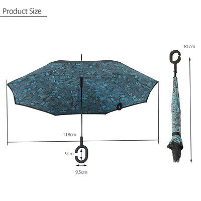 C-Handle Reverse Windproof Double Layer Upside Down Inverted Umbrella Self Stan