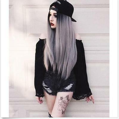 Women Black Omber Grey Long Straight Full Wig Heat Resistant Synthetic Full Wig