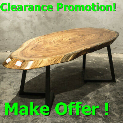 68'' Solid Wood Natural Live Furniture Tea Table Hand Crafted Slab Coffee Ebony