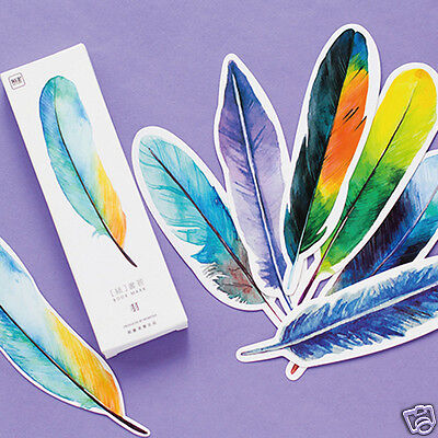 30Pcs/Pack Novelty Colorful Feathers Paper Bookmark Book Marks Marker Label Gift