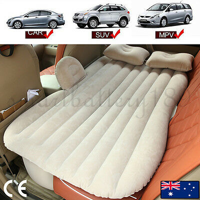Beige Inflatable Car Back Seat Mattress Air Bed Rest Sleeping Camping SUV MPV AU