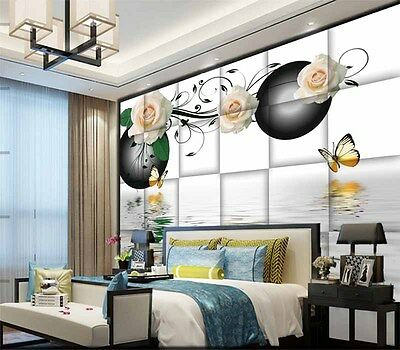 Plain Water Roses 3D Full Wall Mural Photo Wallpaper Printing Home Kids Decor