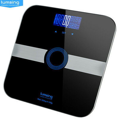 Digital LCD Glass Body Scales BMI Fat Water Weighing Analyser Weight Loss 180kg