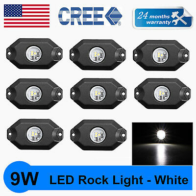 "8X 2"" 9W CREE LED Rock Light JEEP Off-Road Truck Rig Trail Light Boat SUV White"