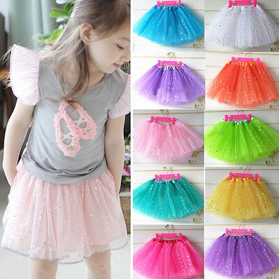 Kids Girl Tutu Ballet Dance Wear Skirts Party Tulle Dress Costume Pettiskirt