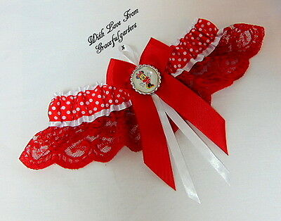 Minnie Mouse Disney lace polka dot bridal wedding garter . mickey. Red & White