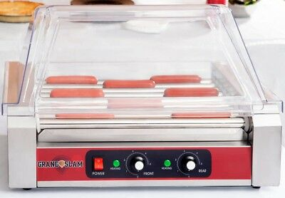 Countertop Hot Dog Sausage Roller Grill 24 Capacity With Cover Sneeze Guard