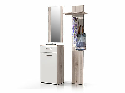 welcome kompakt garderobe mit spiegel schuhschrank paneel in sonoma eiche eur 199 90 picclick de. Black Bedroom Furniture Sets. Home Design Ideas