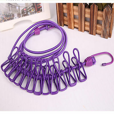 Pegless Travel Clothes Line Clothesline Washing Camping Hanging Airer Rope Drier