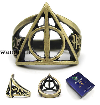 Harry Potter Deathly Hallows Finger Ring Brozen Metal Hollow Jewelry Gift + BOX