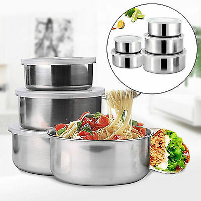 5Pcs Storage Bowl Set Stainless Steel Lids Mixing Container Home Kitchen CQ2074